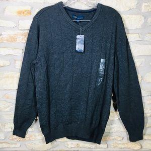 L John Ashford Men's V Neck Heather Gray Sweater